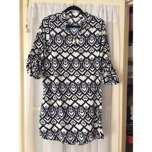 Navy & white ikat popover dress